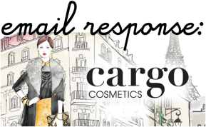 Email Response from CARGO Cosmetics (Animal Testing)